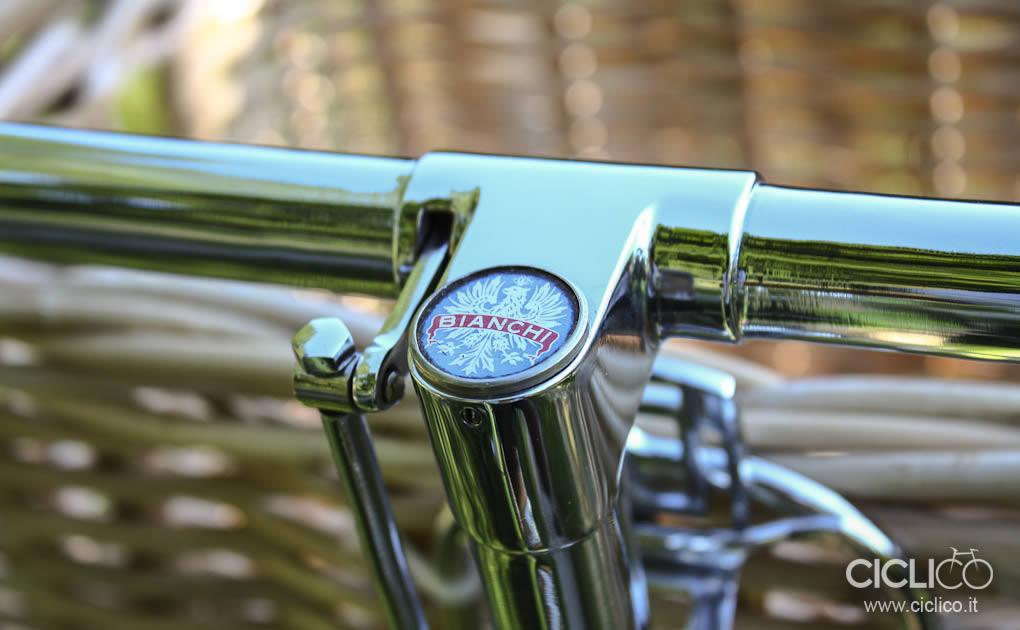 ciclico, crema, pistacchio, bianchi, freni a bacchetta, cestino bici, vimini, bici donna, restauro bici, brooks, sella brooks, manopole brooks,