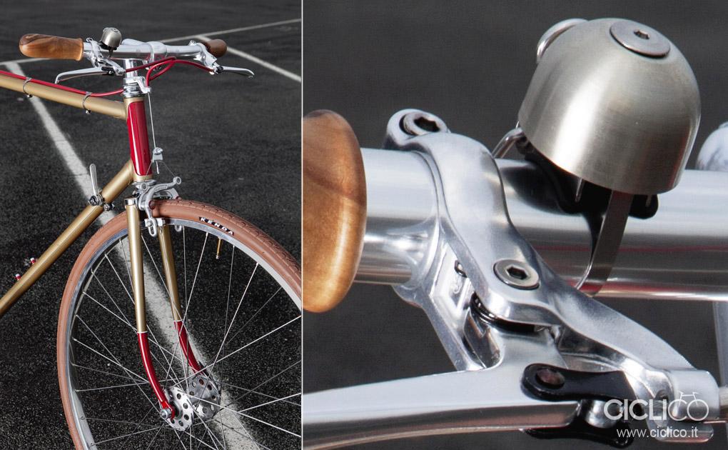 ciclico, urban bike, café racer, telaio scapin, singlespeed, bike resyling, bike restore, manopole in legno, il Cedino Pavia, BLB handlebar, Tektro FL750 brake levers, spurcycle bike bell,